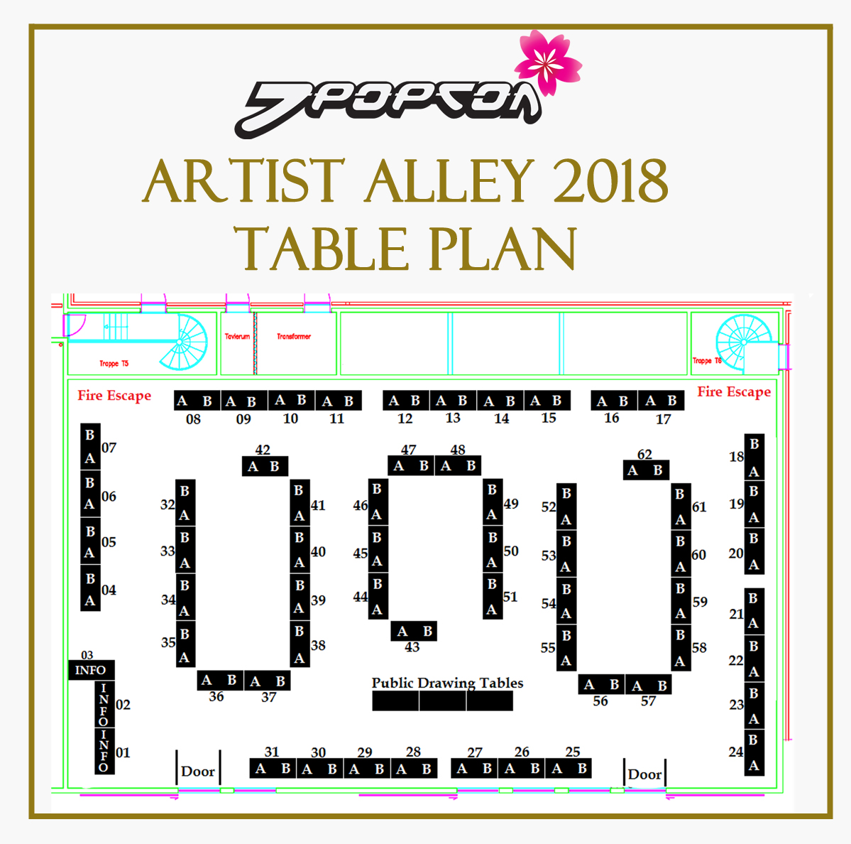 Artist Alley 2018 Table Plan